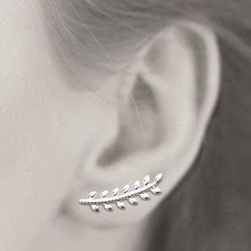 MARY JANE - Boucles doreilles Argent - Larg:5mm - Haut:21mm - Femme - Feuille - Laurier - Pendantes