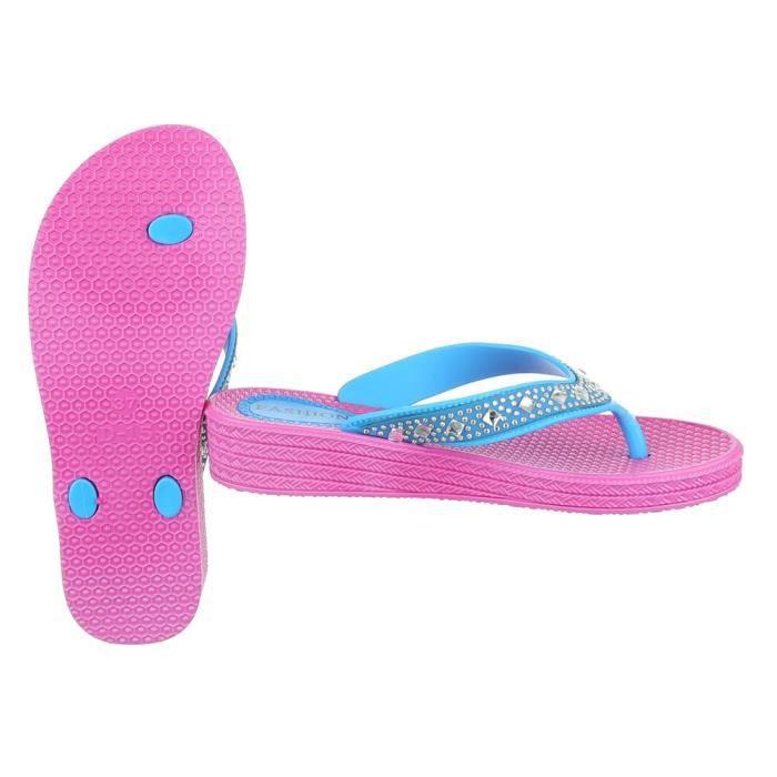 femme sandale chaussure chaussures d'été chaussures de plage l'orteil sépareravec Strass rose vif bleu yDPVfN