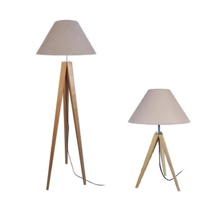 IDUN Lampadaire + lampe à poser trépied bois massif naturel style ...
