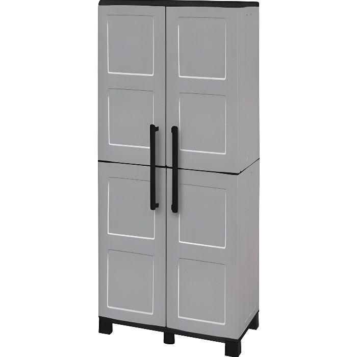 tood armoire de rangement haute en r sine 3 tablettes avec porte balai achat vente etabli. Black Bedroom Furniture Sets. Home Design Ideas