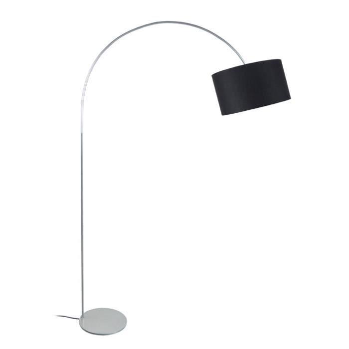 ARCH Lampadaire en acier avec abat-jour en coton - L 30 x l 30 x H 170 cm - Noir