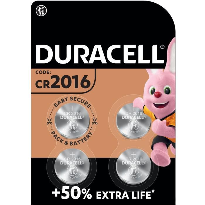DURACELL 4 Piles Bouton CR 2016