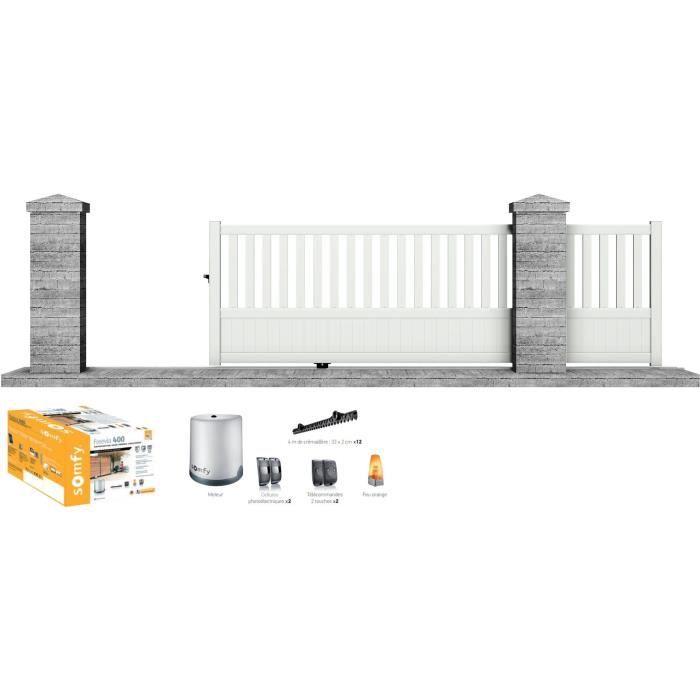 Portail motorisé SOMFY coulissant aluminium Etna 3,5 m blanc - CLOTURA