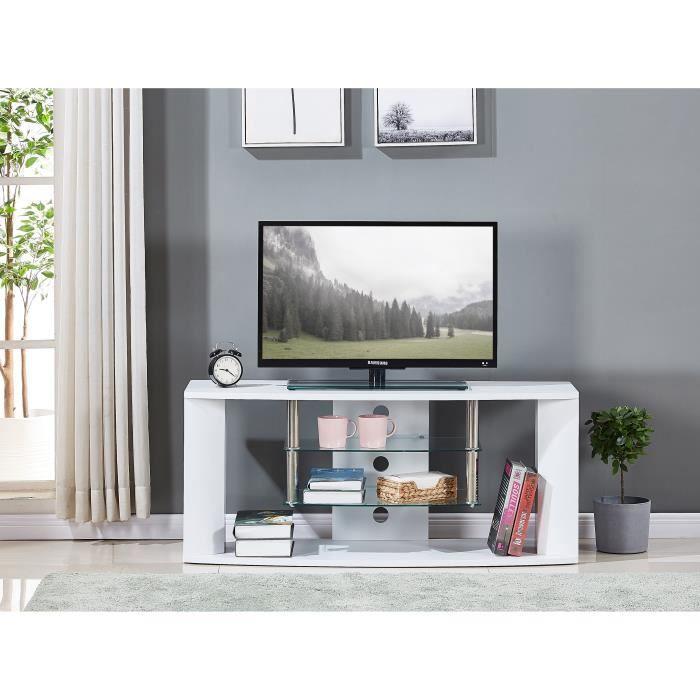 Meuble TV en bois décor sonoma blanc - Etagère en verre - L 119 x P 39,5 x H 50 cm