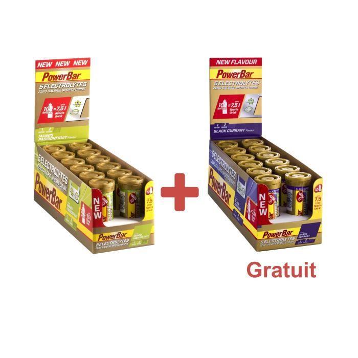 POWERBAR Boisson sport 5 Electrolytes - Zéro calorie - Mangue fruits de passion et Cassis - 12 x 10 comprimés + 1 Lot gratuit
