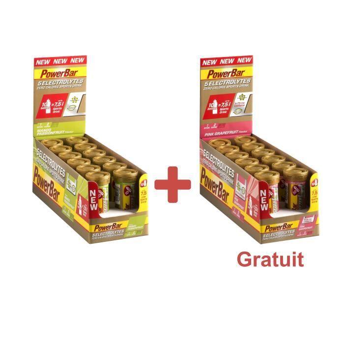 POWERBAR Boisson sport 5 Electrolytes - Zéro calorie - Mangue F. de la Passion et Pample. rose - 12 x 10 comprimés + 1 Lot gratuit