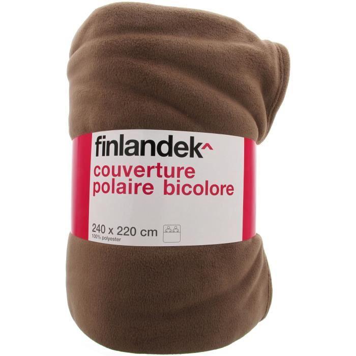 TOUT SIMPLEMENT Couverture polaire polyester - 240x220 cm - Marron Chocolat / Rouge cerise