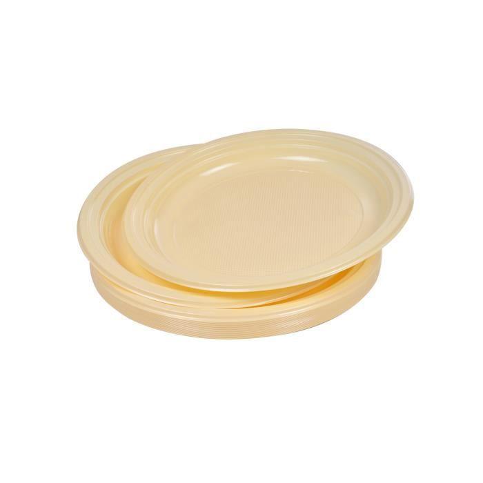 Lot de 25 assiettes à dessert jetables diamètre 17 cm crème