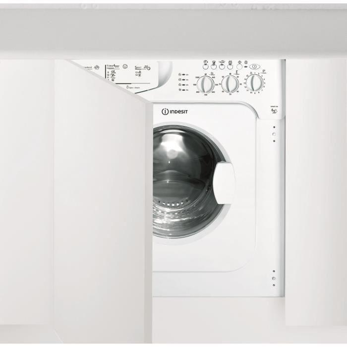 INDESIT IWME 106 (EU) - Lave linge frontal tout intégrable - 6kg - 1000 trs / min - A+