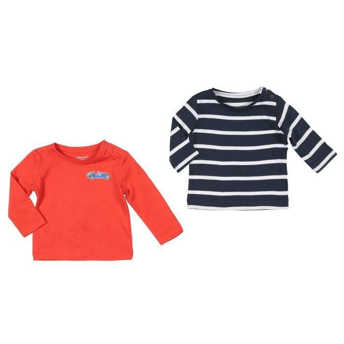BÉBÉ RêVE Lot de 2 T-shirts Jersey Marron et rouge Bébé mixte