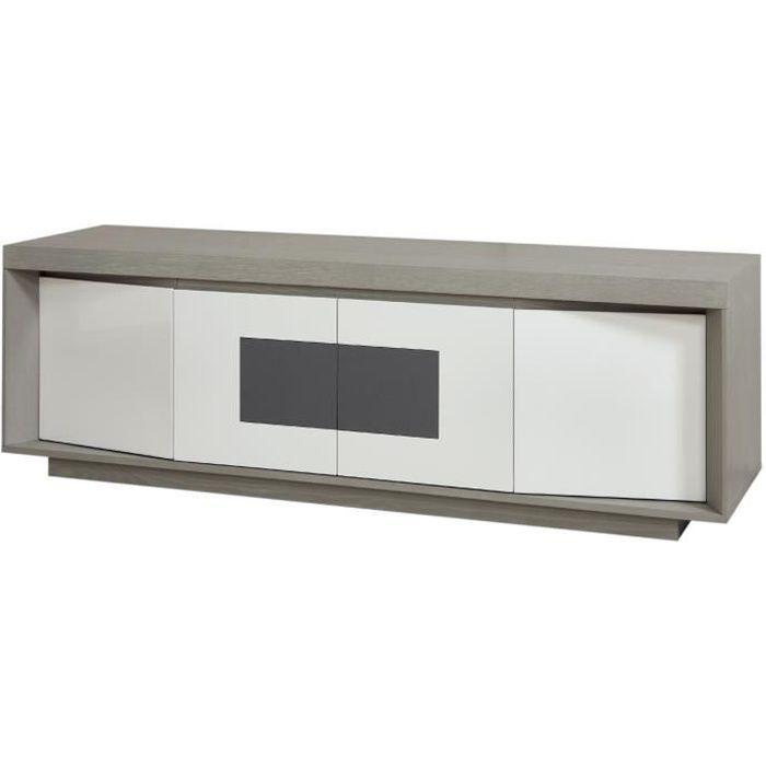 7acfbd440c0232 PLYMOUTH Meuble TV LED contemporain laque blanc et placage bois chene gris  en ceramique gris L