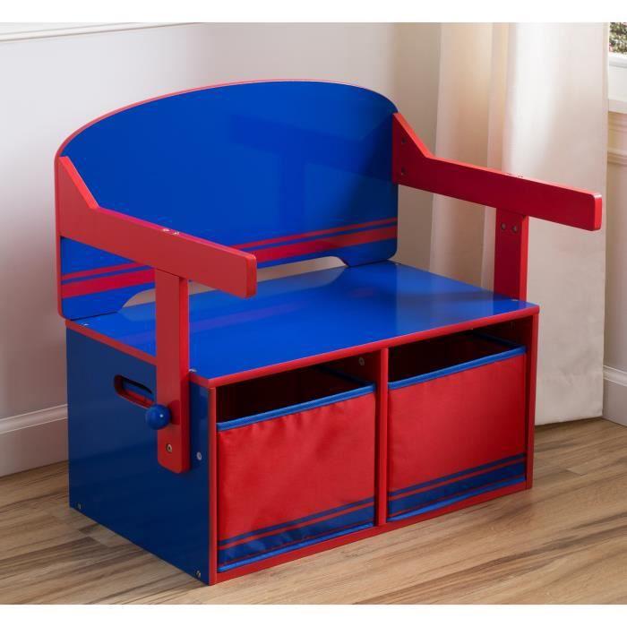 DELTAKIDS - Bureau/Banc Enfant Convertible avec Rangements - Rouge et Bleu