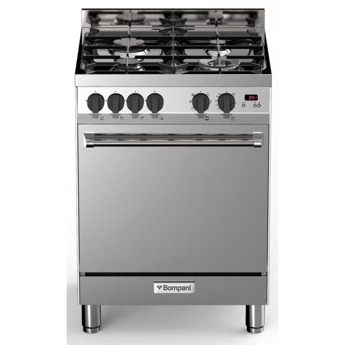 BOMPANI BTECH66IX - Cuisinière table gaz - 4 foyers - Four électrique multifonction - Catalyse - 58