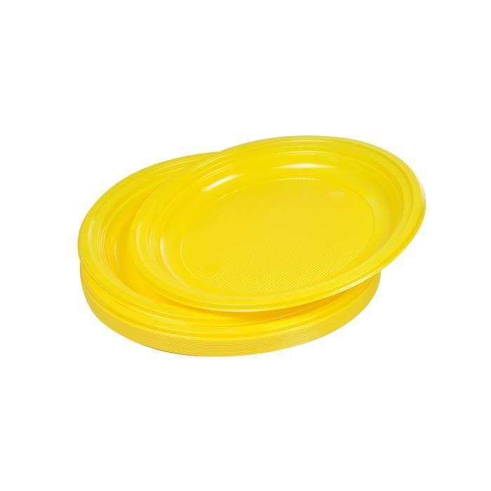 Lot de 25 assiettes à dessert jetables diamètre 17 cm jaune