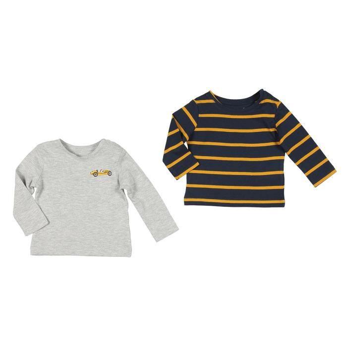 BÉBÉ RêVE Lot de 2 T-shirts Jersey Marron et gris chiné Bébé mixte