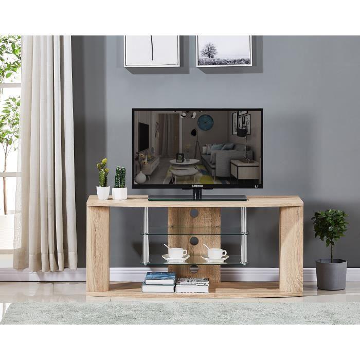 Meuble TV en bois décor sonoma naturel - Etagère en verre - L 119 x P 39,5 x H 50 cm