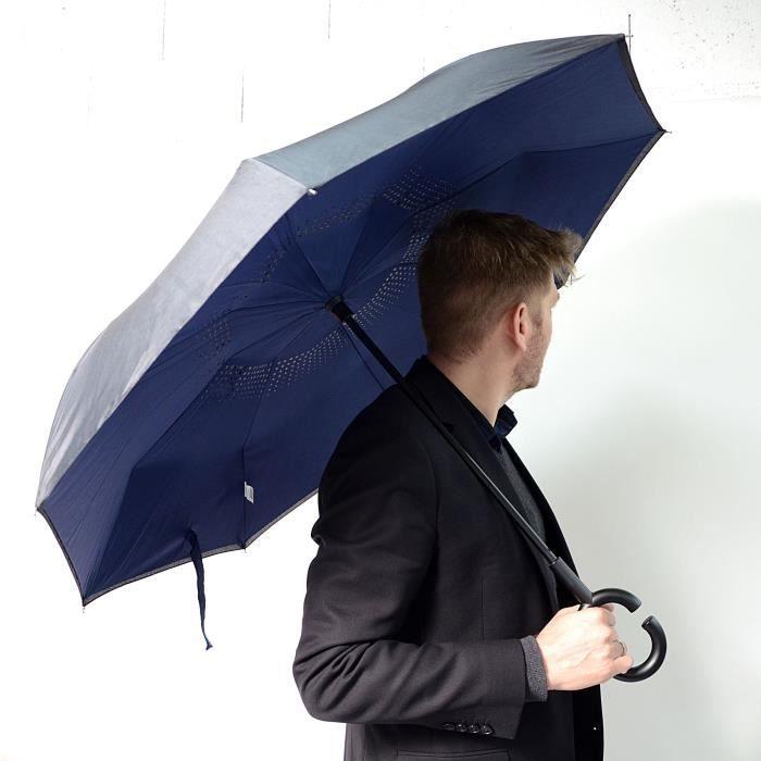 KINSTON Parapluie inversé Noir/Bleu
