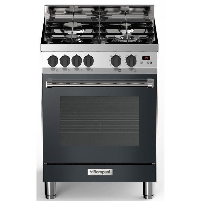 BOMPANI BTECH66NR - Cuisinière table gaz - 4 foyers - Four électrique multifonction - Catalyse - 58