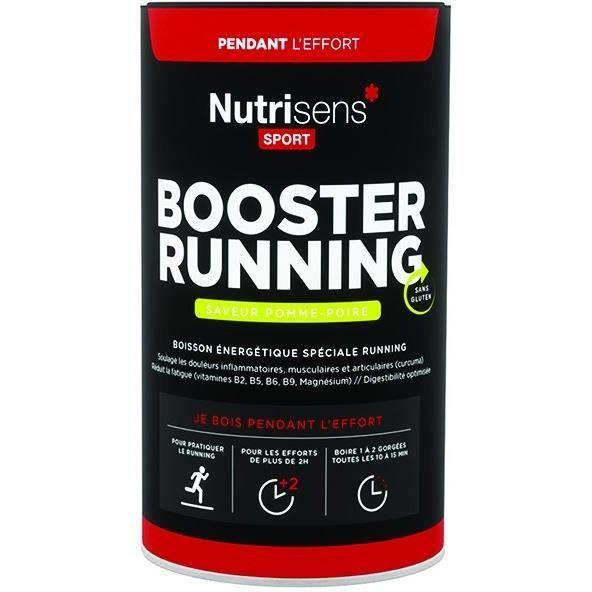 NUTRISENS Complément alimentaire - Pot de 500g pour préparation de boisson énergétique Booster Running - Pomme/Poire