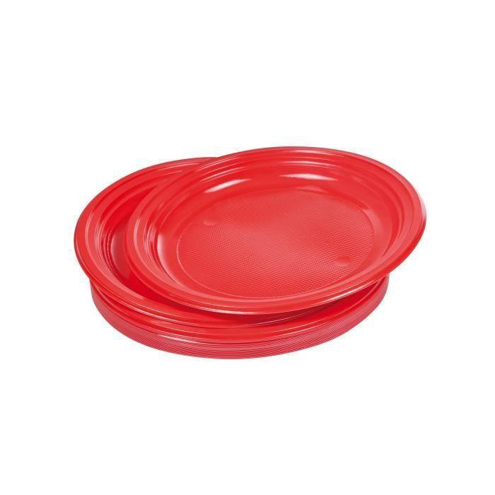Lot de 25 assiettes à dessert jetables diamètre 17 cm rouge vermeil