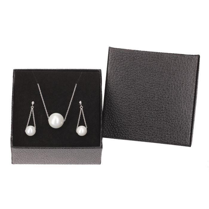 MONPLAISIR Parure Collier et Boucles d'Oreilles Perles et Argent 925° Femme