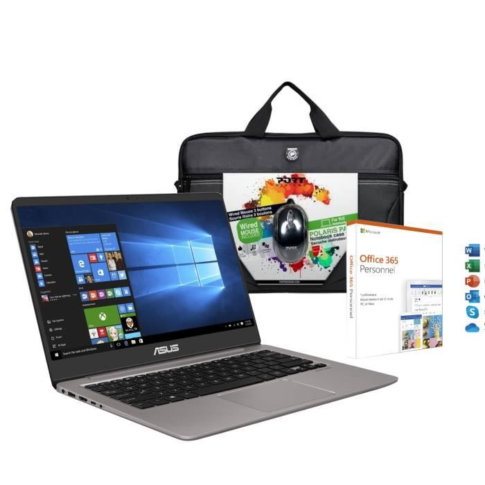 Pc portable asus zenbook ux410ua gv596t 14 full hd core i5 8250u ram 8go stockage 1to256go ssd win10 office 365 accessoires