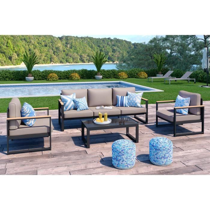 En aluminium gris foncé - Coussins taupe - Composé d'une table basse, d'un canapé 3 places et de 2 fauteuils.SALON DE JARDIN - ENSEMBLE TABLE CHAISE FAUTEUIL DE JARDIN