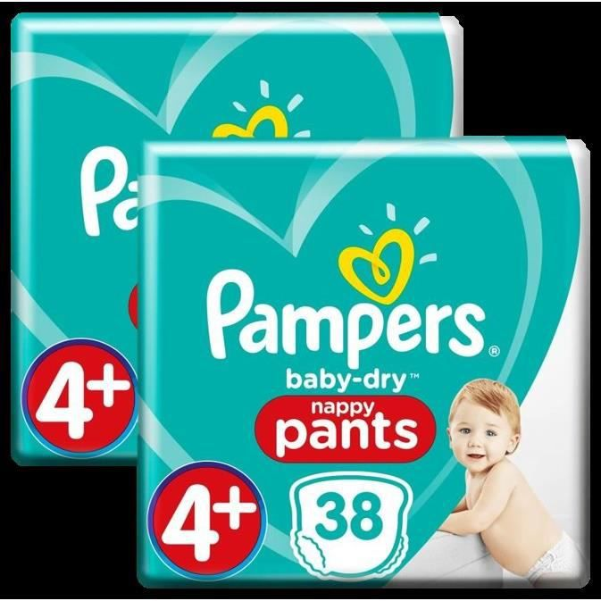Couches Pampers Baby-Dry Pants Géant Taille 4+ x38 - Lot de 2