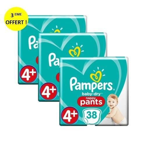 Couches Pampers Baby-Dry Pants Géant Taille 4+ x38 x3