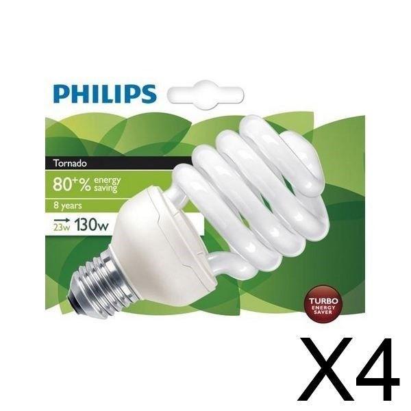 PHILIPS Lot de 4 Ampoules fluo-compacte 23W E27