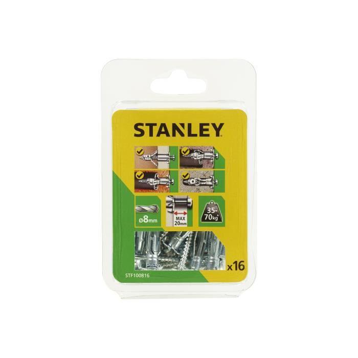 STANLEY Lot de 16 chevilles en métal multi-matériaux ø 4x37 mm STF100816-XJ