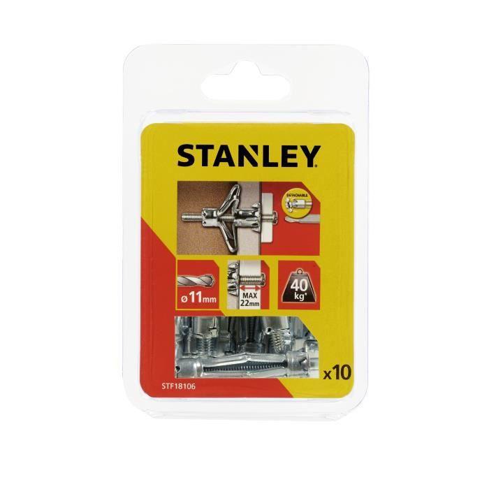 STANLEY Lot de 10 chevilles métalliques à expansion ø 6x50 mm avec vis M6 STF18106-XJ