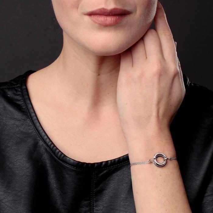 CERALUXE Bracelet Argent 925° Céramique et Oxydes de Zirconium Femme