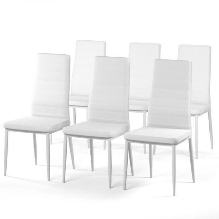 Sam lot de 6 chaises de salle manger en m tal simili for Chaise salle a manger hauteur assise 50 cm