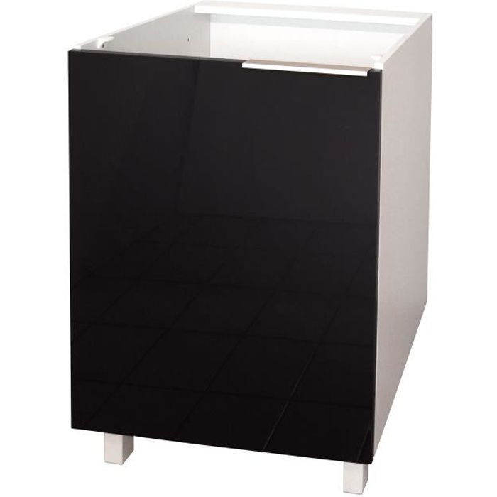 Pop meuble bas de cuisine l 60 cm noir brillant achat for Element de cuisine noir brillant