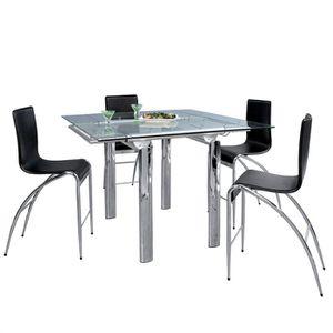 TABLE À MANGER SEULE DITTA Table à manger haute chrome/verre