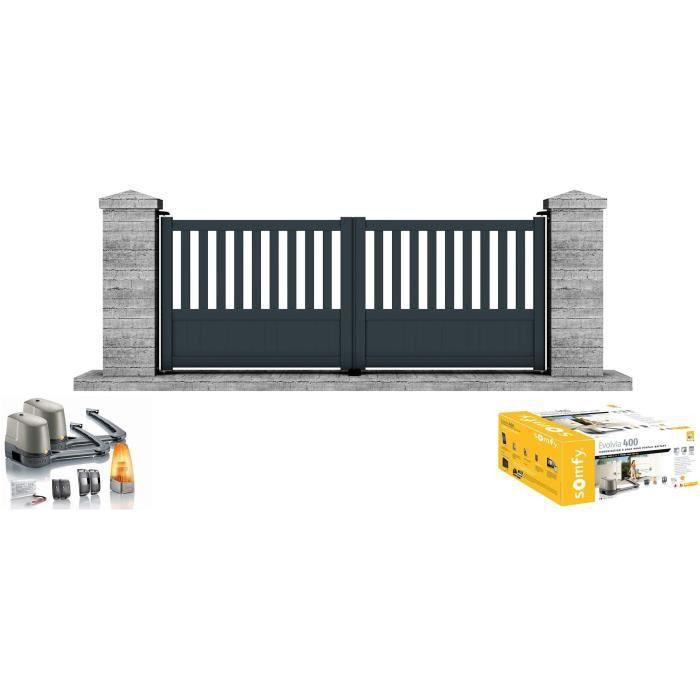 PORTAIL - PORTILLON Portail motorisé SOMFY battant aluminium Etna 3,5m