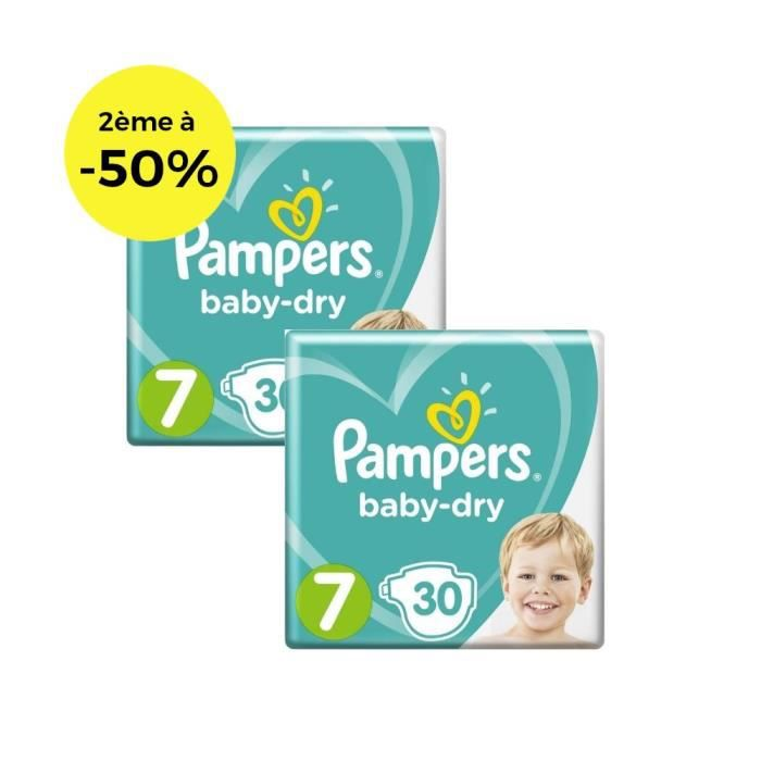 COUCHE Pampers Baby-Dry Taille 7 x30 - Lot de 2
