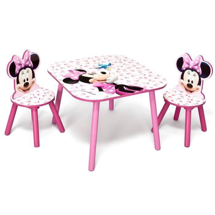 Table Et Chaise Petite Fille minnie - ensemble table et 2 chaises bois enfant - rose et