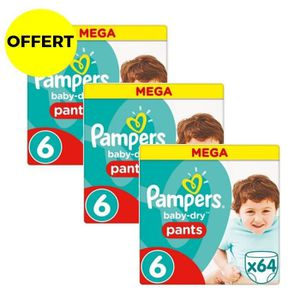 COUCHE PAMPERS Baby Dry Pants Taille 6 - 192 couches - Fo