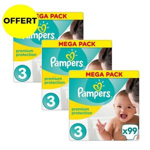 COUCHE PAMPERS Premium Protection Taille 3 - 297 couches