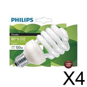 AMPOULE - LED PHILIPS Lot de 4 Ampoules fluo-compacte 23W E27