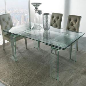 TABLE À MANGER SEULE Table design en verre extensible DELIA  160 cm