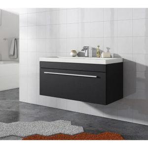 Meuble salle de bain avec vasque noir Achat Vente Meuble salle