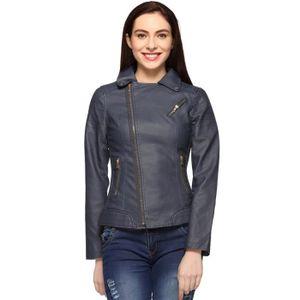 BLOUSON - VESTE Bleu Veste en cuir pour femme H9BFX Taille-40