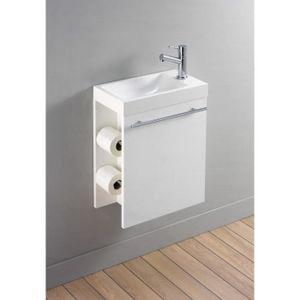 LAVABO - VASQUE Lave-mains complet avec meuble design blanc et dis