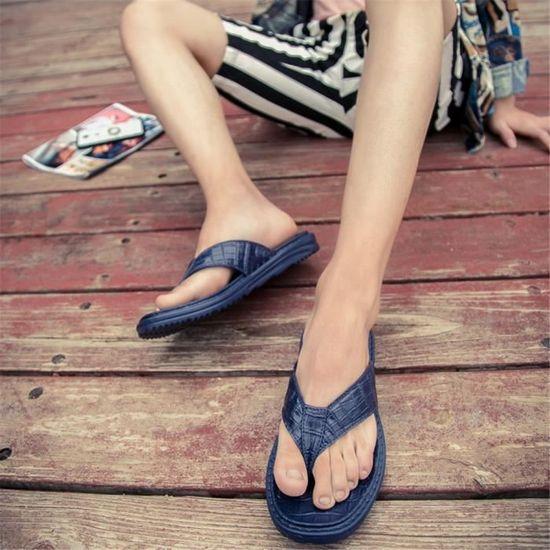 Tong Homme plat Chaussures Beau Respirant Fond plat Homme Résistantes à l'usure Confortable Bleu Bleu - Achat / Vente slip-on 832955