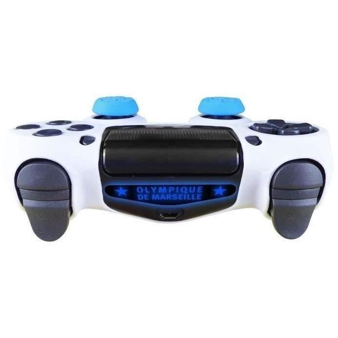 OM Olympique de Marseille - Pack d'accessoires de customisation pour manette PS4, coque en silicone,