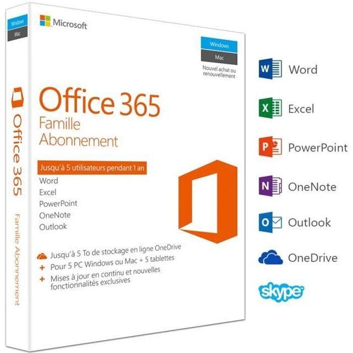 Office 365 Famille - Inclus les nouveaux logiciels Office 2016 pour 5 PC/Mac + 5 tablettes + 5 smartphones pendant 1 anLOGICIEL BUREAUTIQUE