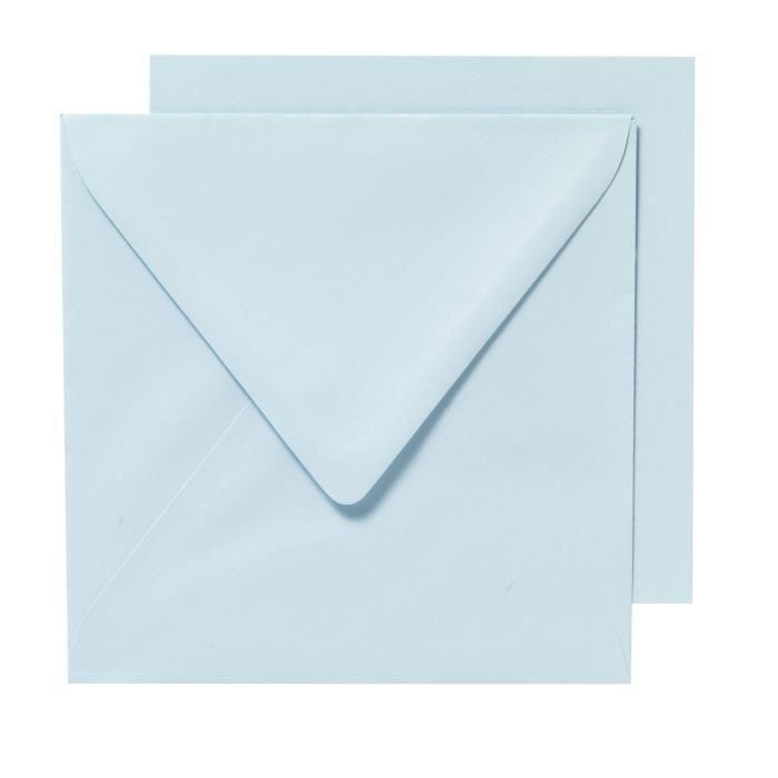 PANDURO Enveloppes Cartes Bleu clair x10 - Carrées pré-pliées - 155x155 cm